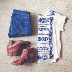 Love this denim jeans, summer wear, blue, ankle boots, embroidered top, brown boots, casual outfits, fashion women, madewell summer