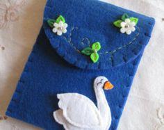 Felt phone case small phone case floral phone by PuffinPatchwork