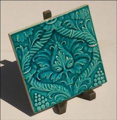 Art Nouveau Turquoise Majolica Tile