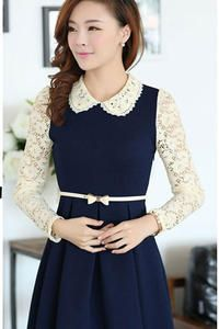 Dark Blue Cute Dolly Style Lae Sleeves and Collar Korean Collection Dress