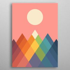 Rainbow Peak by Andy Westface Simple Canvas Paintings, Easy Canvas Art, Small Canvas Art, Mini Canvas Art, Painters Tape Art, Rainbow Painting, Painting With Tape, Gouche Painting, Geometric Art