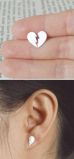 Broken heart stud earrings