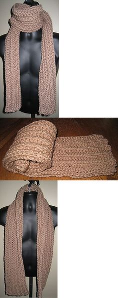 Scarves Hats and Accessories 160661: Tan Ribbed Scarf~Hand Crochet~Unisex Winter Warm Handmade Designer Luxury Scarf -> BUY IT NOW ONLY: $39.95 on eBay!