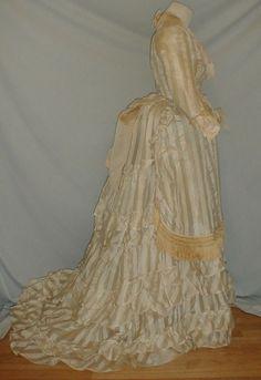 All The Pretty Dresses: White On White Striped Dress 1870s Fashion, Victorian Fashion, Day Dresses, Summer Dresses, Bustle Dress, Costume Dress, Striped Dress, Pretty Dresses, Vintage Outfits