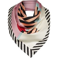 Lulu Guinness Anna doll face silk square scarf ($125) ❤ liked on Polyvore featuring accessories, scarves, pure silk scarves, lulu guinness, silk scarves, silk shawl and square silk scarves