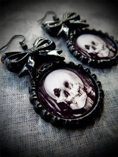 All Is Vanity earrings by LttleShopOfHorrors on Etsy GOTHIC, SKULL, MACABRE, CHARLES GILBERT, DEAD, DARK