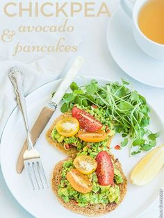 Chickpea pancakes with avocado tomato and watercress - a wonderful satisfying vegan breakfast to kick start your day   DeliciousEveryday.com