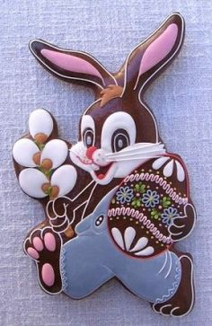 gingerbread Easter bunny - zajíc s kočičkama Fancy Cookies, Iced Cookies, Biscuit Cookies, Cute Cookies, Easter Cookies, Easter Treats, Cookie Frosting, Royal Icing Cookies, Cupcakes