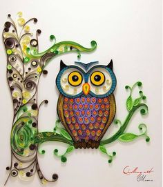 Owl on a limb - quilled by: Quilling art
