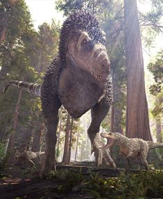 An adult male Tyrannosaurus rex teaching its young how to hunt by Herschel Hoffmeyer DeviantArt