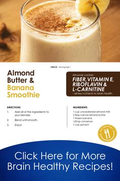 Make this delicious smoothie for a brain-healthy snack or a quick breakfast! Try more of our recipes with our free brain health cookbook! Yummy Smoothies, Juice Smoothie, Smoothie Drinks, Breakfast Smoothies, Yummy Drinks, Healthy Drinks, Smoothie Recipes, Healthy Snacks, Healthy Recipes