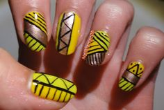 summery tribal nails :)