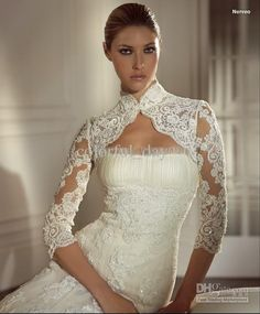lace wedding jacket collar | Wraps:Wraps High Collar Only Jacket Lace Applique Specail For Wedding ...