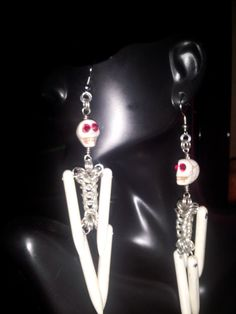 Buy Skeleton Men Earrings by craftingfever. Explore more products on http://craftingfever.etsy.com
