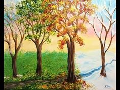 Celebrate the changing of the seasons by learning how to paint beautiful trees! Painting Snow, Summer Painting, Winter Painting, Family Room Walls, Acrylic Painting Tutorials, Beginner Painting, Learn To Paint, Four Seasons