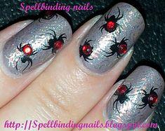 Big SdP C + BM13 spiders + rhinestones by Sarah Louise of Spellbinding Nails.