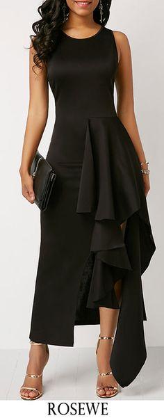 Black Sleeveless Round Neck Asymmetric Hem Maxi Dress.#Rosewe#maxidress#dress