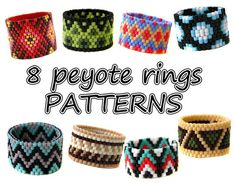 These beaded rings patterns made with size Miyuki Delica seed beads Techniques: Odd Count Peyot Beaded Necklace Patterns, Seed Bead Patterns, Peyote Patterns, Beading Patterns, Mosaic Patterns, Seed Bead Bracelets Tutorials, Beaded Bracelets Tutorial, Boy Scouting, Bracelets