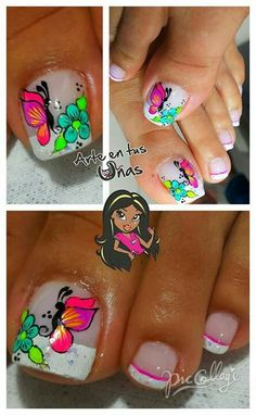 Uñas Cute Pedicure Designs, Toe Nail Designs, Pedicure Nail Art, Toe Nail Art, Cute Toe Nails, Pretty Nails, Nails Today, Nails For Kids, Fire Nails