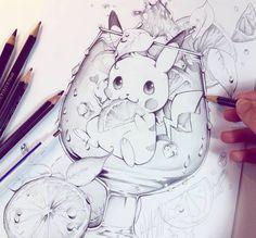 Pikachu sketch by Naschi.deviantart.com on @DeviantArt