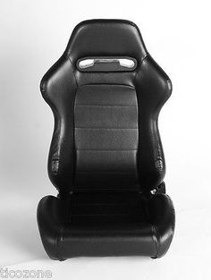 NEW CPA1013 All Black Leatherette Cipher Auto Racing Seats - Pair