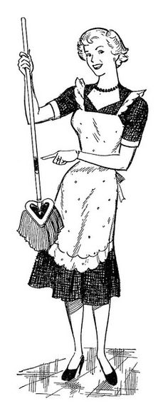 Me and my new Mop! ~ 1951 O-Cedar ad......réépinglé par Maurie Daboux ..웃  She is waaaaay too happy about her mop