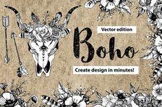 Vector Boho Vintage style+FREE FONTS by Print Digital Art on @creativemarket