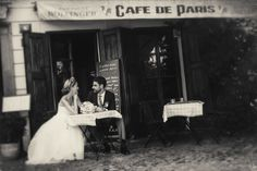 Romance in a #wedding day in front one of many cafe in #Prague