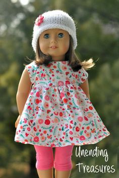 18 inch doll clothes made to fit American girl doll clothes AG doll clothes floral baby doll dress pink capri's and white rolled brim hat