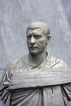 "Portrait of the Roman emperor, ""Philip the Arab,"" (Marcus Julius Philippus; reign 244-249 A.D.) Vatican Museums, inv. 2216 (From Castel Porziano: 1776)."