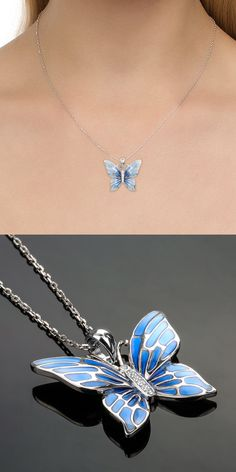 925 Sterling Silver Blue Butterfly Pendant with + Extended Chain Cute Jewelry, Jewelry Accessories, Jewelry Design, Jewelry Shop, Jewelry Ideas, Jewelry Making, Silver Jewellery Indian, Silver Jewelry, Sterling Silver Pendants
