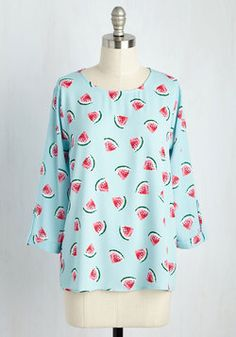 Zoom Bisou Top in Watermelon. On a fun-filled Saturday, you realize that your fruit-printed top matches the sentiment of the afternoon! #blue #modcloth