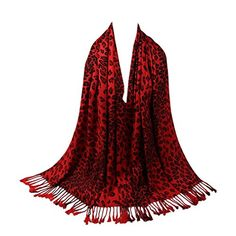 fcf3df310aa8 TOPSTORE01 Foulard Chaud Mode Leopard Écharpe Châle Femme Hiver (Rouge)