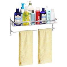Modern Silver-Tone Brushed Metal Wall Mounted Bathroom / Kitchen Storage Shelf Rack & Towel Bar - MyGift® MyGift