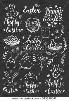 Modern calligraphy. Hand drawn chalk inscription Happy Easter and elements. Eggs, bunny, cake, willow. Handwritten brush lettering with rough edges. Chalkboard.