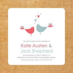 loves love birds wedding invitation set