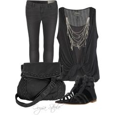 Back in Black, created by orysa on Polyvore
