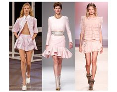 Powder Pink  After Fall/Winter 2013-2014's dark navy, jet-black and scarlet red, it's time for pastel pink to make a return to soften Spring/Summer 2014 looks. Cotton candy and bubblegum pinks sweetened silhouettes at Balmain, Isabel Marant and Alexander Wang.  Images from left to right: Alexander Wang, Balmain, Isabel Marant.  Also seen at Balenciaga.