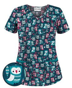 UA What A Hoot Caribbean Blue Scrub Top - Style # UA638WAC #uniformadvantage…