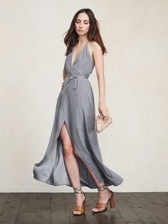 The perfect dress for that engagement party/baby shower/brunch you have to go to. This one will have you looking amazing for whatever's filling up your Google Calendar. The Clara Dress is a soft, lightweight silk blend gown with a plunging neckline and wrap skirt. There's also delicate back detail - the straps tie (so you can adjust to your liking). https://www.thereformation.com/products/clara-dress-bon-vivant?utm_source=pinterest&utm_medium=organic&utm_campaign=PinterestOwnedPins