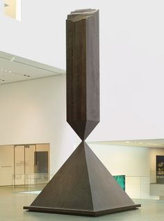Barnett #Newman. Broken Obelisk. 1963-69. #AbEx #AbstractExpressionism. The top of the obelisk kissing, in a sense, the top of the pyramid. A sculpture that stands on its head, literally. Made in 1967, a time of great unrest in the US, what he is achieving is memorial form, which is not memorial to anything. The idea of soaring aspiration unfulfilled, a lament for a time that isn't any more of heroes, but one of assassinations, of broken dreams, disappointments.