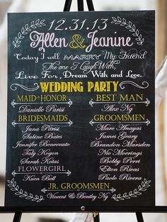 Wedding party / program sign written on chalkboard and set on easel.