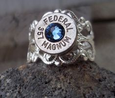 Bullet Vintage Ring Denim Blue by Sarahsjewelrydesigns on Etsy, $10.00