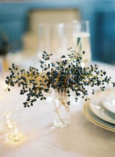 Beautiful simplicity. Berries seem perfect for a winter event.  REVEL: Navy Berry Centerpiece.