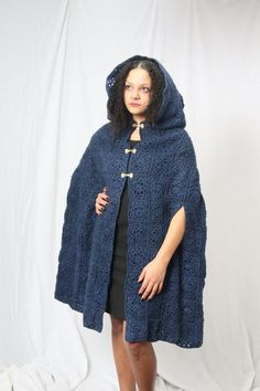 Ready to ship_ Blue cloak medieval cloak crochet cloak Medieval Cloak, Crochet Coat, Winter Coats Women, Knitting Designs, Outerwear Women, Old World, Hand Stitching, High Fashion, Raincoat