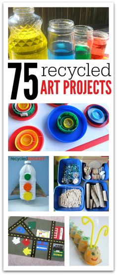 Fun and frugal recycled art materials makes these 75 recycled art projects for kids rad!