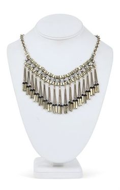Short Statement Necklace with Metal Fringe and Beads