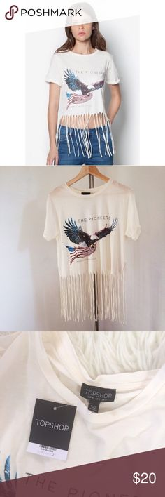 Topshop Pioneers Print Fringe Tee (8) Topshop Size 8 White  NWT- New with tags  Short Sleeves Crop top length Pull over styling  100% cotton  Machine Washable Topshop Tops