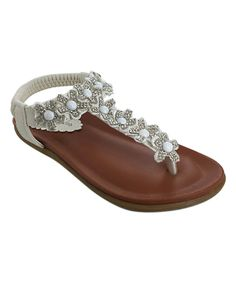 Look what I found on #zulily! Lucky Top White Beaded Honey Sandal by Lucky Top #zulilyfinds