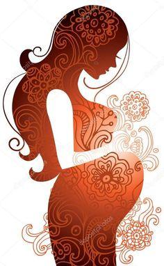 Descargar - Silueta de mujer embarazada — Ilustración de Stock #7398085